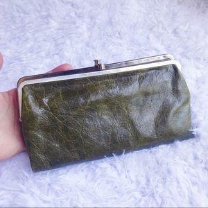 HOBO Lauren Clutch Wallet Green Leather